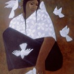 Lady of the birds/Dama de los pajaros, Acrylic on canvas 24x30 inches - Private collection, Holland
