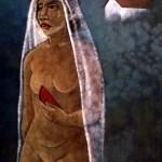 013- la novia, Acrílico en panel 051 x 071 mts.