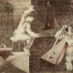 Troubadours below the light of the moon/Trovadores bajo la luz de la luna, Ink 13.75x10.5 inches