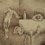 The preacher/El predicador, Ink 13.75x10.5 inches