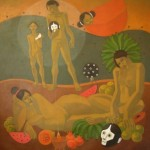 Tale of moons/Historia de lunas, (2008) Acrylic on canvas 36x40 inches - Available