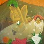 Peering at hope/Atisbando la esperanza (2008) Acrylic on canvas 36x40 inches - Available