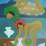Gathering for peace/Recolectando para la paz (2010) Acrylic on canvas 30x36 inches - Private collection, USA
